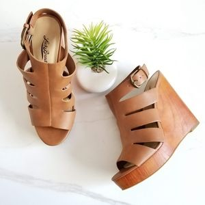 Lucky Brand Ravinna Wedge Sandals Wood Heels